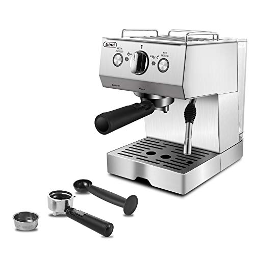 Gevi Espresso Machine 15 Bar Coffee Maker with Foaming Milk Frother Wand for Espresso Cappuccino Latte and Mocha Steam Espresso Maker For Home Barista Double Temperature Control System15L Removable Water TankStainless SteelSilver1050W