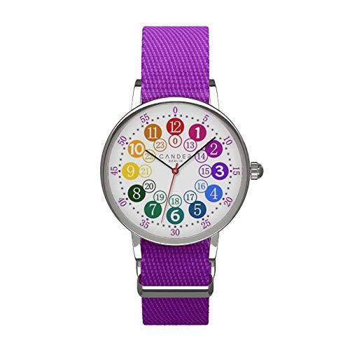 Cander Berlin MNA 1030 V Kinderarmbanduhr Kinderuhr Armbanduhr violett Mädchen Armbanduhr Uhr 12-/24-Stunden