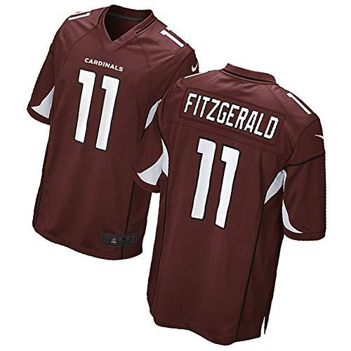 HXSON Männer Rugby Trikot Fußball Trikot Polo Shirts-11# Larry Fitzgerald Arizona Cardinals Wide Receiver Athlet Trikot Mesh Schnell trocknend Langarm Fans Sweatshirt-red-M