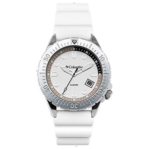 Columbia Pacific Outlander Edelstahl-Quarz-Uhr mit Silikonband, weiß, 22 (Modell: CSC04-006)