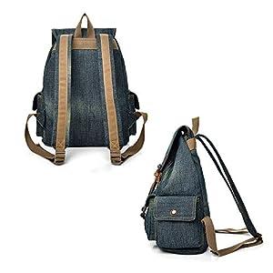 418Hz14OmAL. SS300  - Mochila de lona, mochila escolar de tela vaquera para adolescentes, niñas, niños, estilo vintage, con cordón