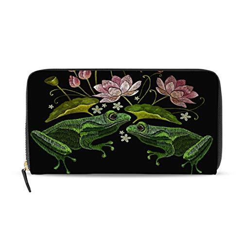 Ahomy Damen PU Leder Geldbörse Portemonnaie Frosch Insekten Lotus Blumen Lange Clutch Tasche mit Kreditkartenfächern