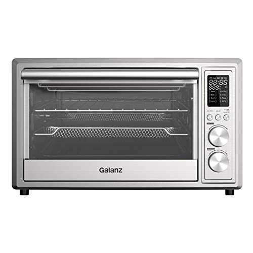 Galanz GTH12A09S2EWAC18 Digital Toaster Oven with TotalFry 360 (Enhanced Air Fry Technology), 1800W/120V, 0.9 Cu.Ft Capacity, 8 Preset Cooking Functions, 25L, Stainless Steel