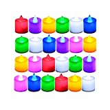 LANKER 24 Pack Flameless Tealight Candles - 7 Color Changing Battery Operated Led Tea Lights – Electronic Fake Candles – Decorations for Wedding, Party, Christmas, Halloween (7 Color Changing)