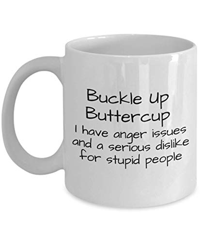 N\A Abróchese el botón de Oro Tengo Problemas de ira y una Gran aversión por los estúpidos Taza de café