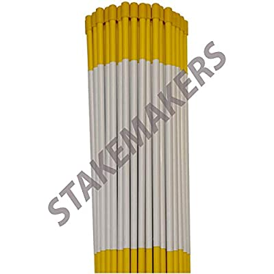 """Driveway Markers, Yellow, 10 Pack, 4' x 5/16"""", Snow Stakes, Plow Stakes, Reflective Tape, Bundle of 10 Driveway Markers"""