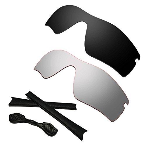 HKUCO Black/Titanium Polarized Replacement Lenses plus Black Earsocks Rubber Kit For Oakley Radar Path