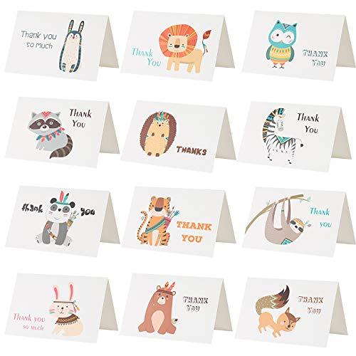Kesote 24 Tarjeta de Gracias Tarjeta de Felicitación Agradecimiento Animal con Sobres y Pegatinas (12 Estilos)