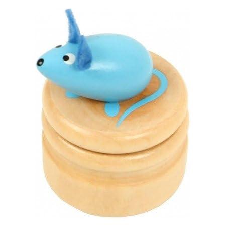 Boite à dents de lait souris bleu boîte en bois couvercle à visser enfant 5 ans