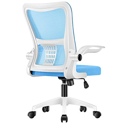 Office Chair, Modern High-Back Swivel Mesh Desk Chair, Ergonomic 120° Reclining & 360° Rotation Chair, Adjustable Height with Foldable Arms (Color : Blue 2)