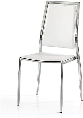Lo Scrigno Arredamenti - Juego de 4 sillas modernas de metal, para cocina, saló