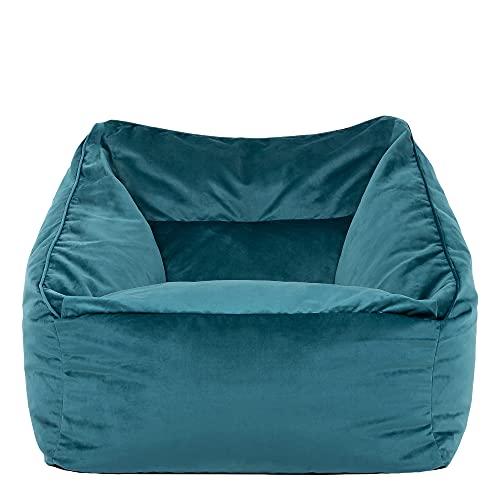 icon Milano Lounge Chair, Teal Green - 100cm x 88cm, Giant Velvet Armchair Living Room Bean Bags, Plush Velvet Bean Bag Chair
