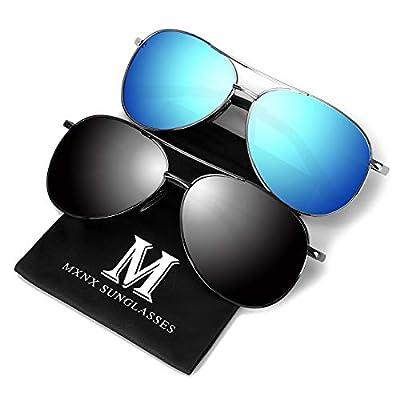 Aviator Sunglasses for Men Polarized Women -MXNX UV Protection Lightweight Driving Fishing Sports Mens Sunglasses MX208 (gun+blue)