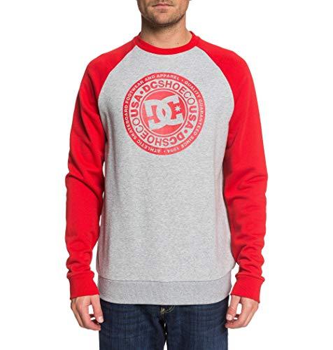 DC Shoes Herren Circle Star - Sweatshirt für Männer Fleece Top, Grey Heather/Racing red, XL