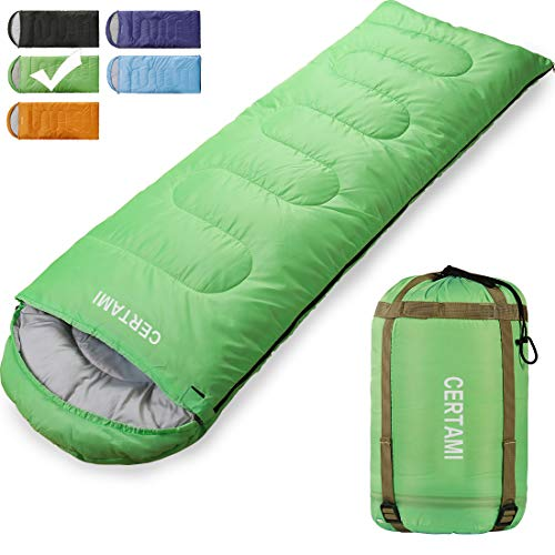 CER TAMI Sleeping Bag for Adults, Girls & Boys, Lightweight Waterproof Compact, Great for 4 Season Warm & Cold Weather, Perfect for Outdoor Backpacking, Camping, Hiking. (Green/Right Zip)