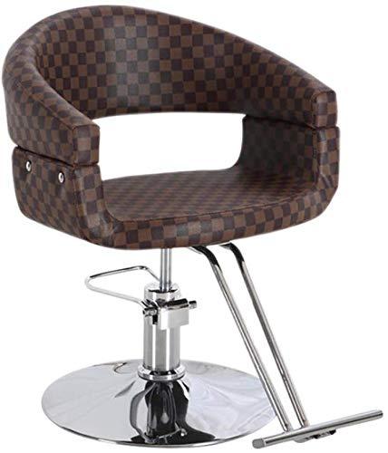 LAL6 Neue Beauty Salon Stuhl, Friseurstuhl Sessel Haarschnitt Rasur Beauty Stuhl Mit Rückenlehne Und Handlauf Verstellbarer Hocker (Brown Plaid)