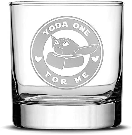 Integrity Bottles Premium Whiskey Glass Baby Yoda One For Me Circle Etched Liquor Rocks Tumbler product image