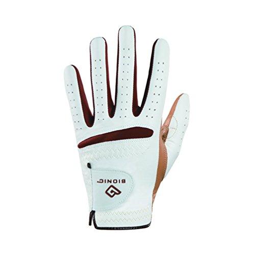 BIONIC Damen Golfhandschuh RelaxGrip Rechte Hand Golf Handschuh, weiß/Caramel, X-Large