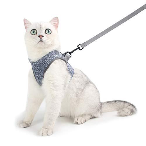 Katzengeschirr und Leine Set für Spaziergang 360° Wrap-Around kleine Katze und Hunde Geschirr Pufferwirkung und Fluchtwiderstand, geeignet für Faltbeutel mit kationischen Geweben (M, Hellgrau)