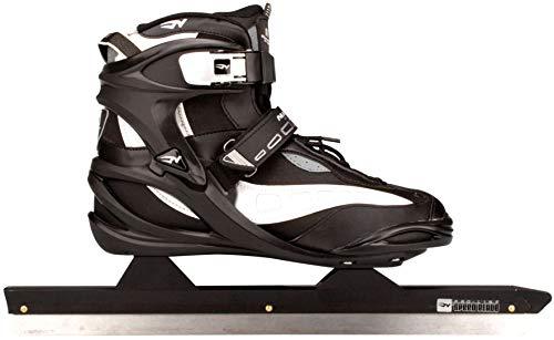 Nijdam Schlittschuhe Eisschnelllauf Softboot (45||schwarz-grau-silber)