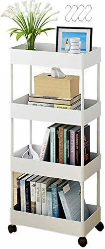 Lishens - Carro de almacenamiento de 4 niveles con ruedas deslizables, organizador de utilidad, estantería móvil, estante de almacenamiento para lugares estrechos en la cocina