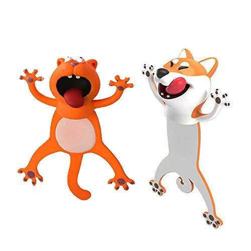 3D Cartoon Bookmark Funny Kawaii Animal Wacky Book Marks Cute Cat Dog Bookmarks for Kids Office School Gift