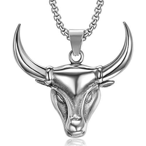 BOBIJOO JEWELRY - Colgante, Collar de Cabeza de Toro Gardians de la Camarga, de Vaca, de Acero, de Plata + Cadena