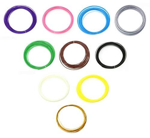 50 Metri - Filamento ABS 1.75 mm - in 10 Colori - 5 Metri ciascuno - Stampante e Penna 3D - Ricarica - Materiali - Hobby Creativi