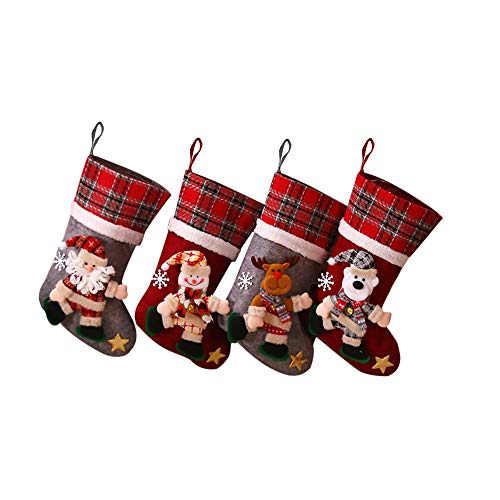 Galapar Medias de Navidad, Navidad Creativo muñeca Calcetines de Navidad Bolsa de Regalo árbol de Navidad Colgante decoración de Navidad para decoración de Fiesta de Navidad 4PCS