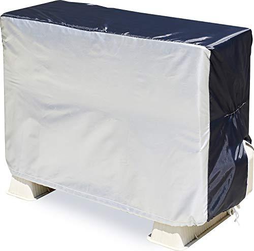 アストロ エアコン室外機カバー シルバー×ブラック 撥水加工 配管用スリット 風飛び防止ヒモ付き 194-05