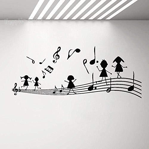 Nota Musical, Calcomanía De Pared, Tecla De Música, Habitación De Los Niños, Pegatina De Vinilo Para Pared, Mural, Pegatina Para Niña, Decoración Del Hogar, Cartel De Dormitorio, 57X23Cm
