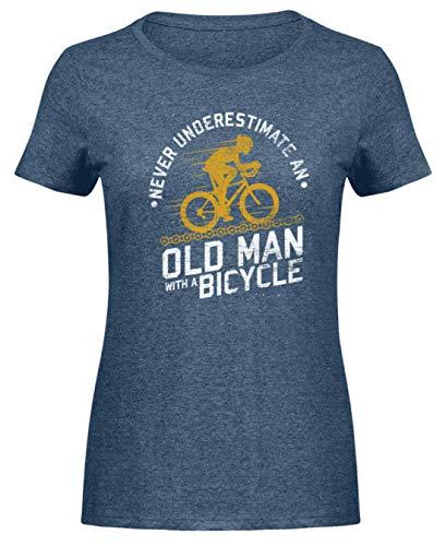 Bici Bicicletta Vecchio Nonno Padre Pensionato Ciclista Ciclista Pensionamento Ciclismo - Camicia Donna in Melange - Camicia Donna -M-Heather Navy Navy