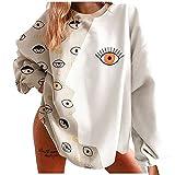 Langarmshirt Damen Oversized Rundhalsausschnitt Multi-Augen-Druck Schmetterlingsdruck Patchwork...