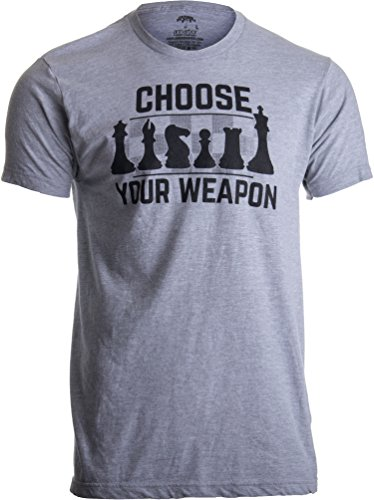 Chess - Choose Your Weapon | Funny Player Joke, Club Team Set Game Humor T-Shirt-(Adult,L) Sport Grey