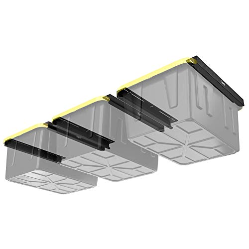 Koova Overhead Garage Storage Racks for Utility Bins, Frame Rails with Hardware, Heavy Duty Steel Ceiling Hangers, Container Organization, DIY Mounting System (Three Bin Racks)