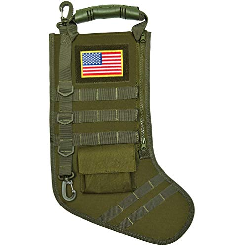SPEED TRACK Tactical Christmas Xmas Stocking W/Handle, Perfect Mantel Decoration, Gift for Veterans Military Patriotic and Outdoorsy People (Green)
