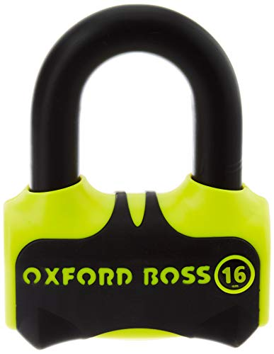 Oxford Boss 16 Disc Lock - Candado para Moto, Color Amarillo