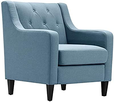 Magnificent Amazon Com Park Avenue Sky Blue Hand Tied Accent Chair And Ibusinesslaw Wood Chair Design Ideas Ibusinesslaworg