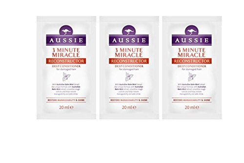 Aussie 3 Minute Miracle Reconstructor Deep Conditioner 20ml (paquete 3)