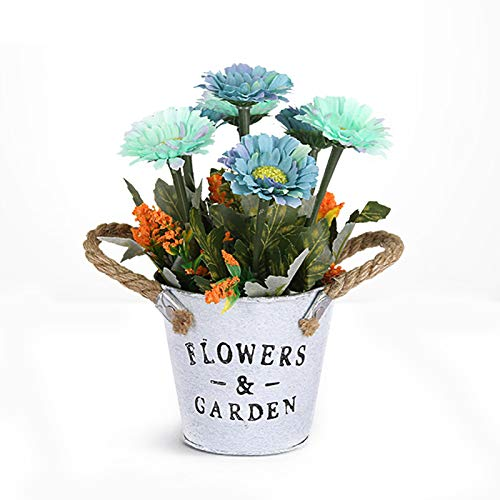 Qiujing Artificial Flower Iron Art Flower Pot Metal Pastoral Style Garden Supplies Decoration For Home Garden