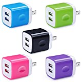 5 Pack Wall Charger, HUHUTA Dual Port 2.1A USB Phone Charger...