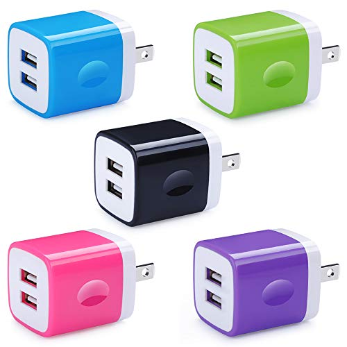 5 Pack USB Charger Wall Plug HUHUTA Dual Port 2.1A USB Phone Charger Adapter Block Box Replacement Fast Charging Plug Compatible for iPhone Xs, iPad, Samsung Galaxy S21 S20 S9, Google Pixel and More