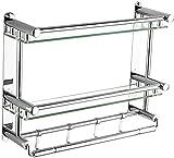 Riyyow Muebles de baño Estante de Vidrio Estante de baño Doble Baño Estante montado en la Pared Estante de Acero Inoxidable Baño Towel Rack (Color : Silver, Size : 50 * 38 * 15.5cm)