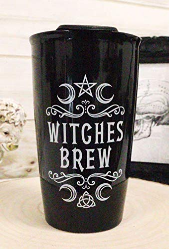 Ebros Gothic Wicca Sacred Moon Triple Goddess Pentacle Witches Brew Double Walled Ceramic To-Go Travel Mug Cup With Lid 12oz Coffee Tea Drink Cups Mugs Alchemy Magic Occult Serveware Drinkware