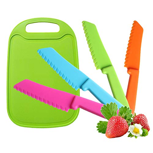 Jatidne 4 Pieces Safety Knives for Children Cooking Salad Lettuce Knife Kids Plastic Knife Colorful with Cutting Board