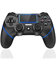 TUTUO Mando Inalambrico para PS4, Gamepad Wireless Bluetooth Controlador Joystick con Vibración Doble/Puerto de Audio Remoto/Pantalla LED, Mando inalámbrico para Playstation 4/Pro/Slim/PC(Azul)