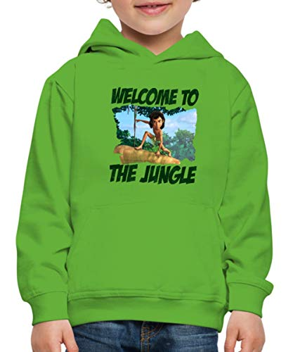 Spreadshirt Das Dschungelbuch Mogli Willkommen Im Dschungel Kinder Premium Hoodie, 134-146, Hellgrün