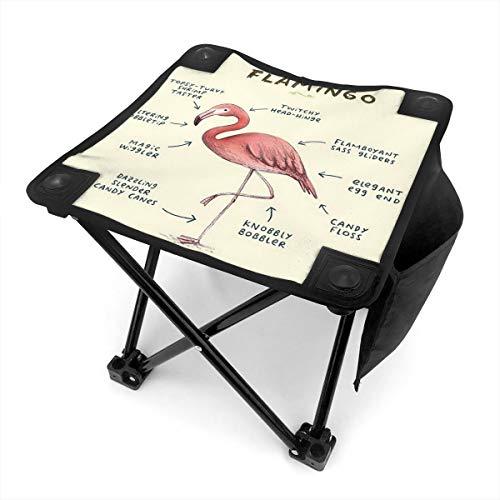 Rhythm-cy Anatomie eines Flamingo Kleiner Klapphocker Tragbarer Mini Tritthocker Outdoor Klappstuhl, zusammenklappbarer Campinghocker für Angeln Camping Reise