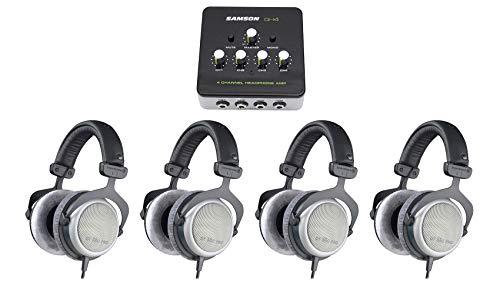 Beyerdynamic DT-880-PRO-250 Semi Open Studio Reference Monitor Headphones Bundle with SAMSON QH4 4-Channel Studio/Podcast Monitoring Headphone Amplifier
