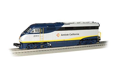 Williams by Bachmann EMD F59PHI Locomotive with True Blast Plus Sound - Amtrak California #2001 - O Scale, 23402, Prototypical Blue & Sliver with Yellow Stripe Diecast Metal Sprung Trucks